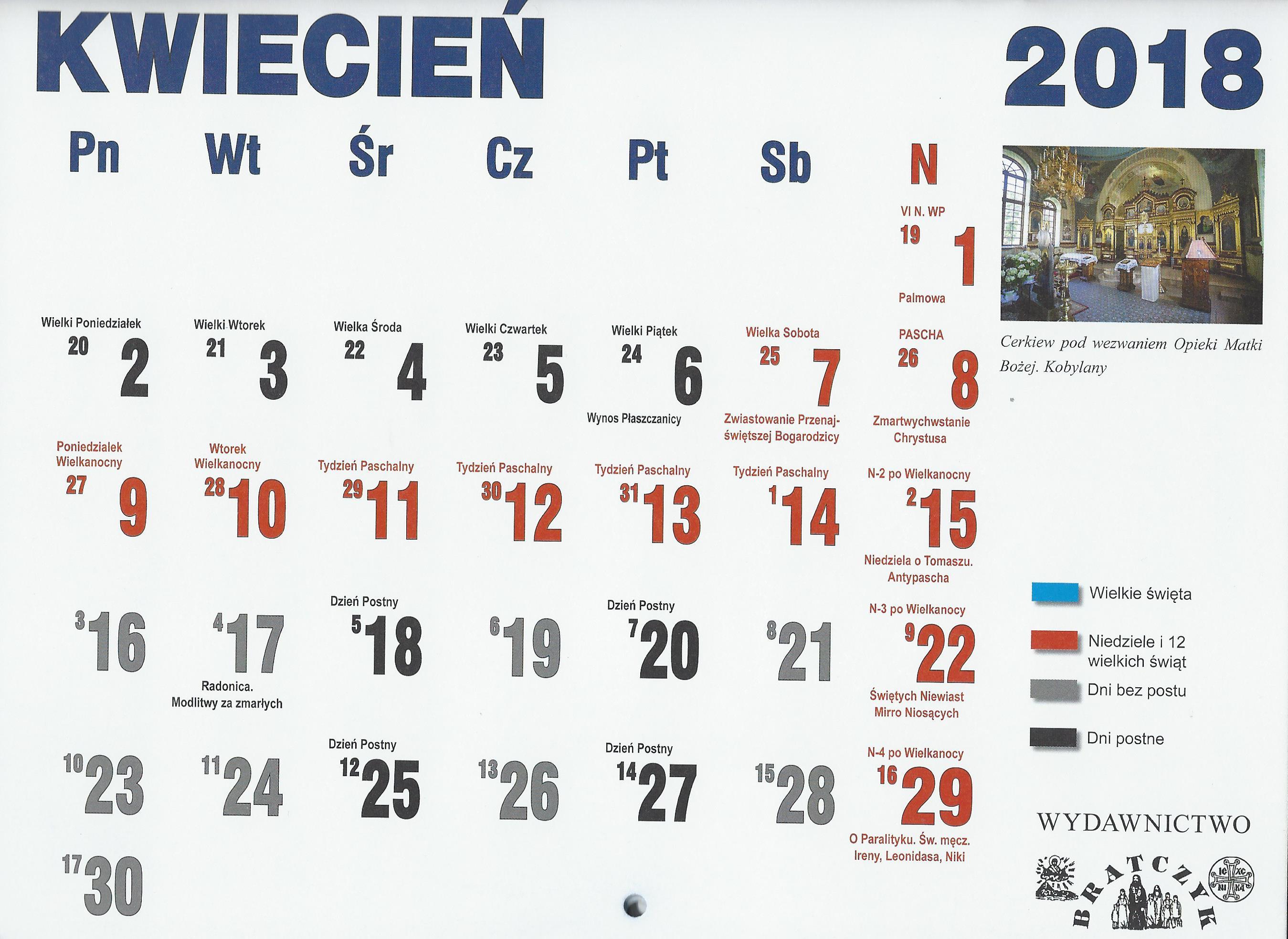 Kalendarz Prawosławny 2018r Parafia Prawosławna Pw świętej Trójcy