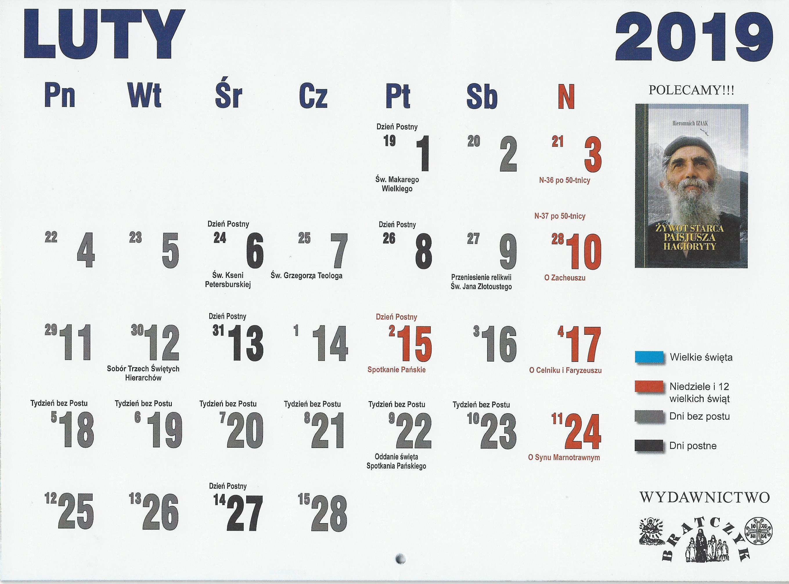 Kalendarz Prawosławny 2019r Parafia Prawosławna Pw świętej Trójcy